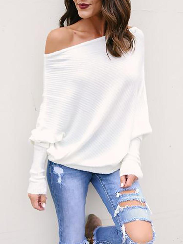 Ivrose coupon: Skew Neck Batwing Sleeve Casual Blouse
