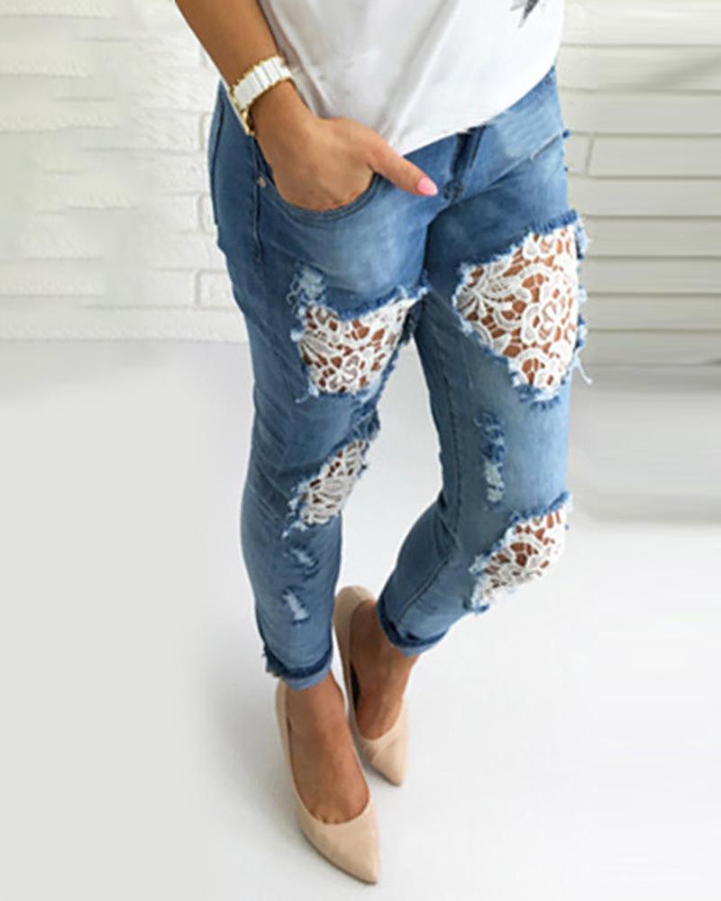 crochet Lace Fringe Hem Ripped Jeans thumbnail