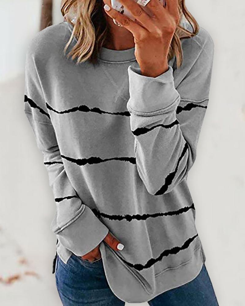 Tie Dye Print Long Sleeve Casual Sweatshirt