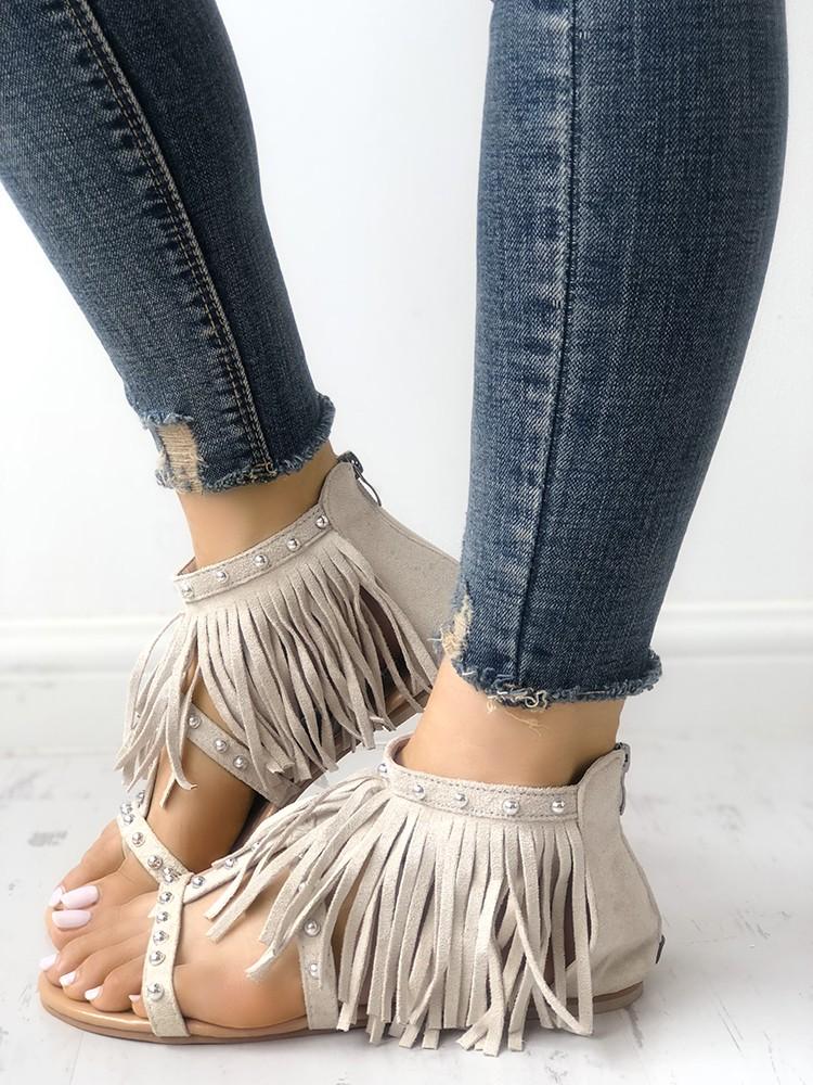 Rivet Tassel Open Toe Flat Sandals