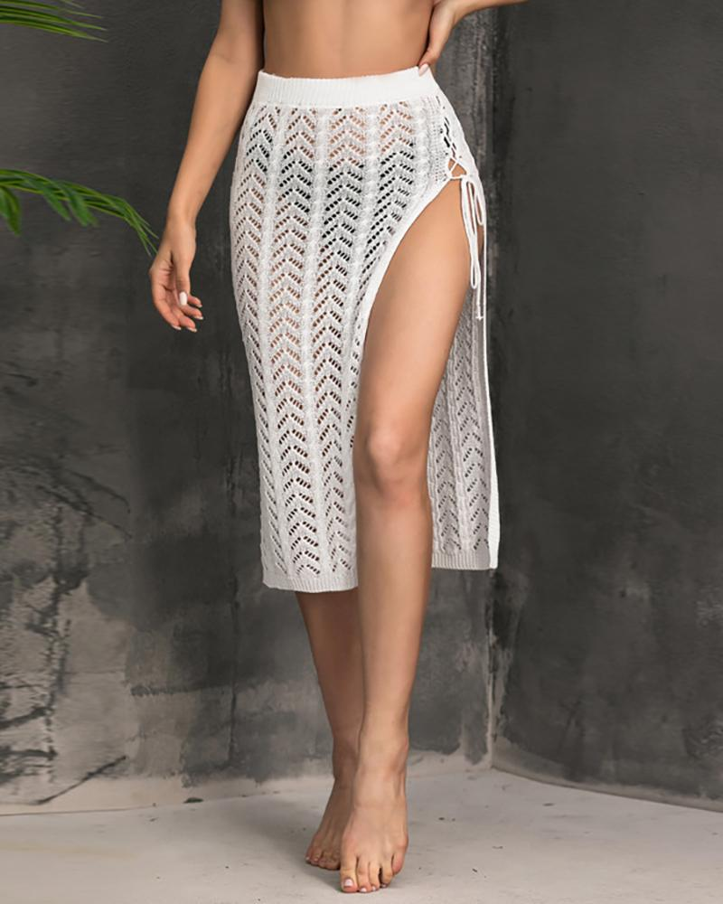 Knit Lace-up High Slit Cover Up Skirt, boutiquefeel, white  - buy with discount