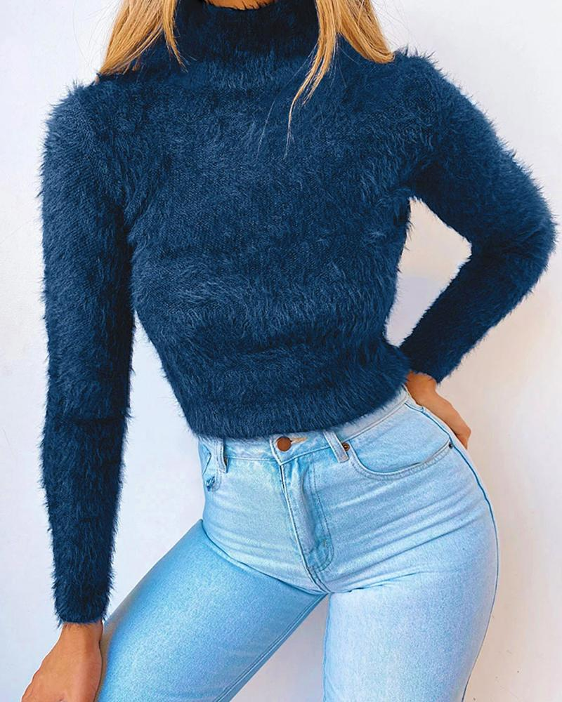 High Neck Solid Fluffy Long Sleeve Sweater thumbnail