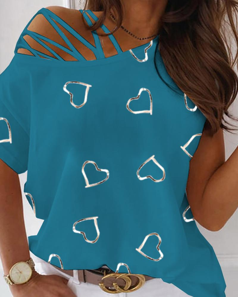 Lace-up One Shoulder Heart Print T-shirt
