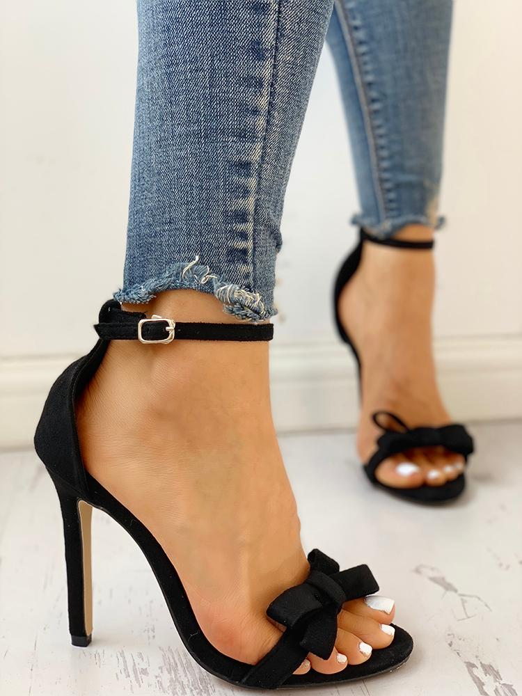 boutiquefeel / Bow Decorate Ankle Strap Thin Heeled Sandals