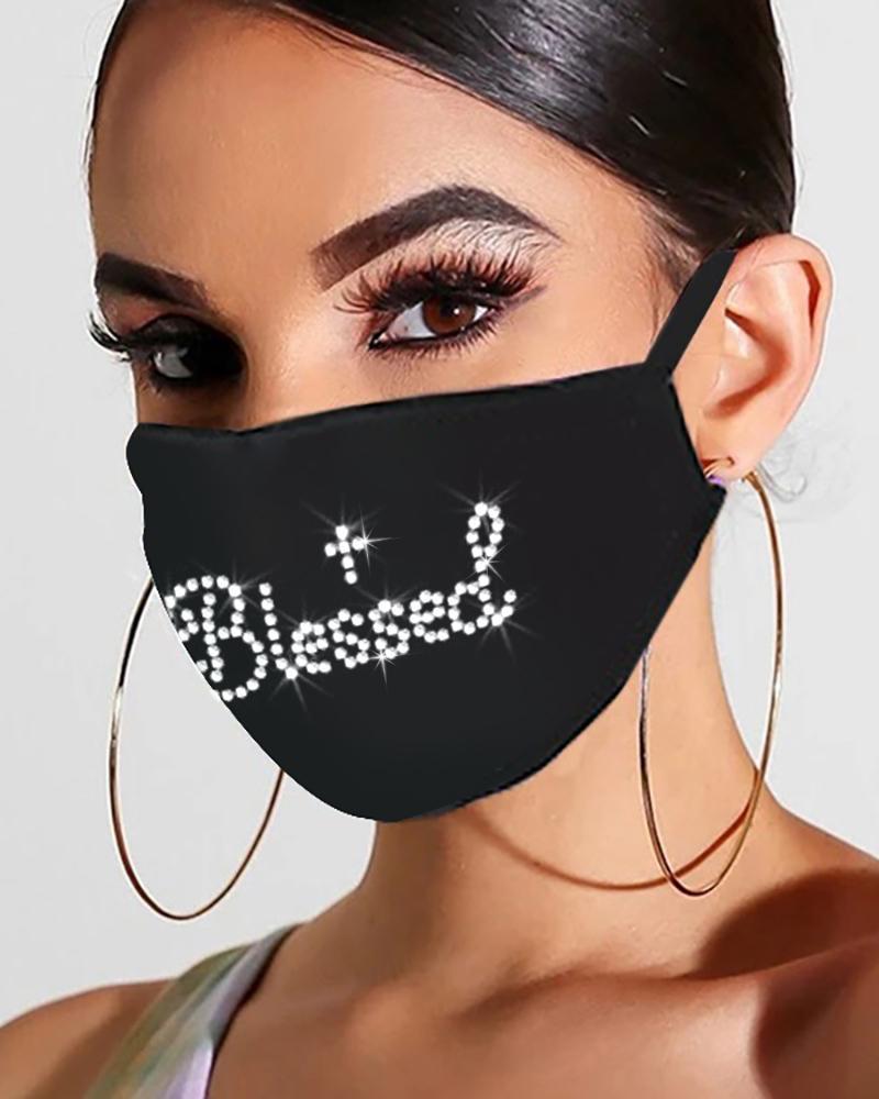 Bling Rhinestone Letter Pattern Face Mask thumbnail