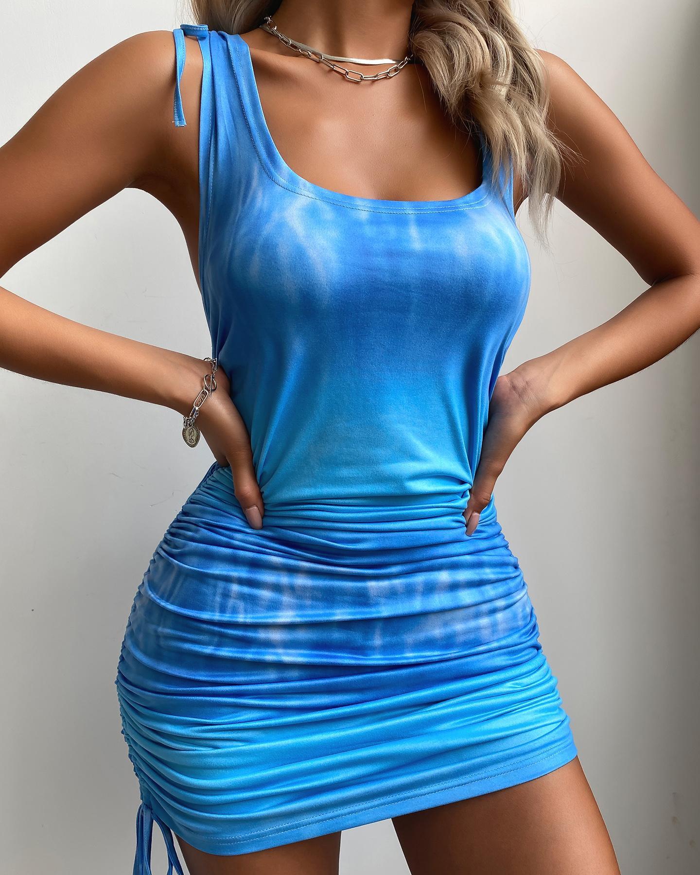 Tie Dye Print Drawstring Ruched Bodycon Dress