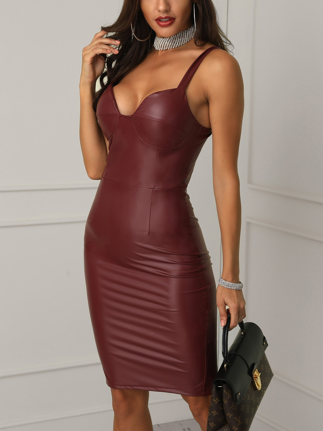 boutiquefeel / PU Slit Back Spaghetti Strap Bodycon Dress