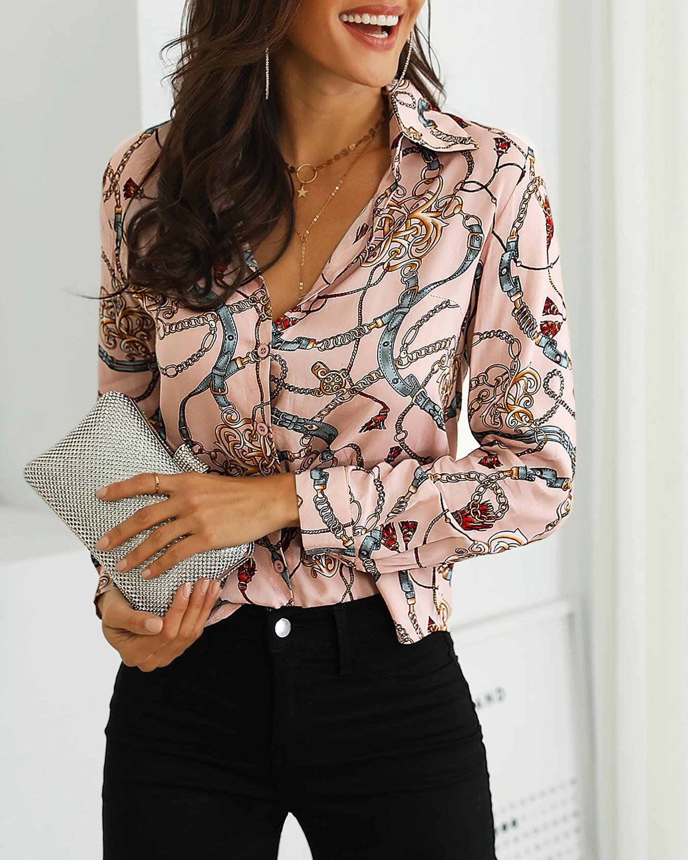 Long Sleeve Mixed Chain Print Casual Blouse
