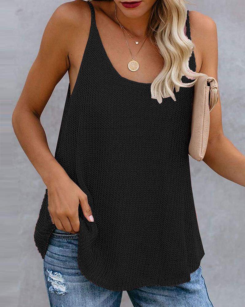 Colorblock / Plain Knitted U-Neck Sleeveless Top, chicme, black  - buy with discount