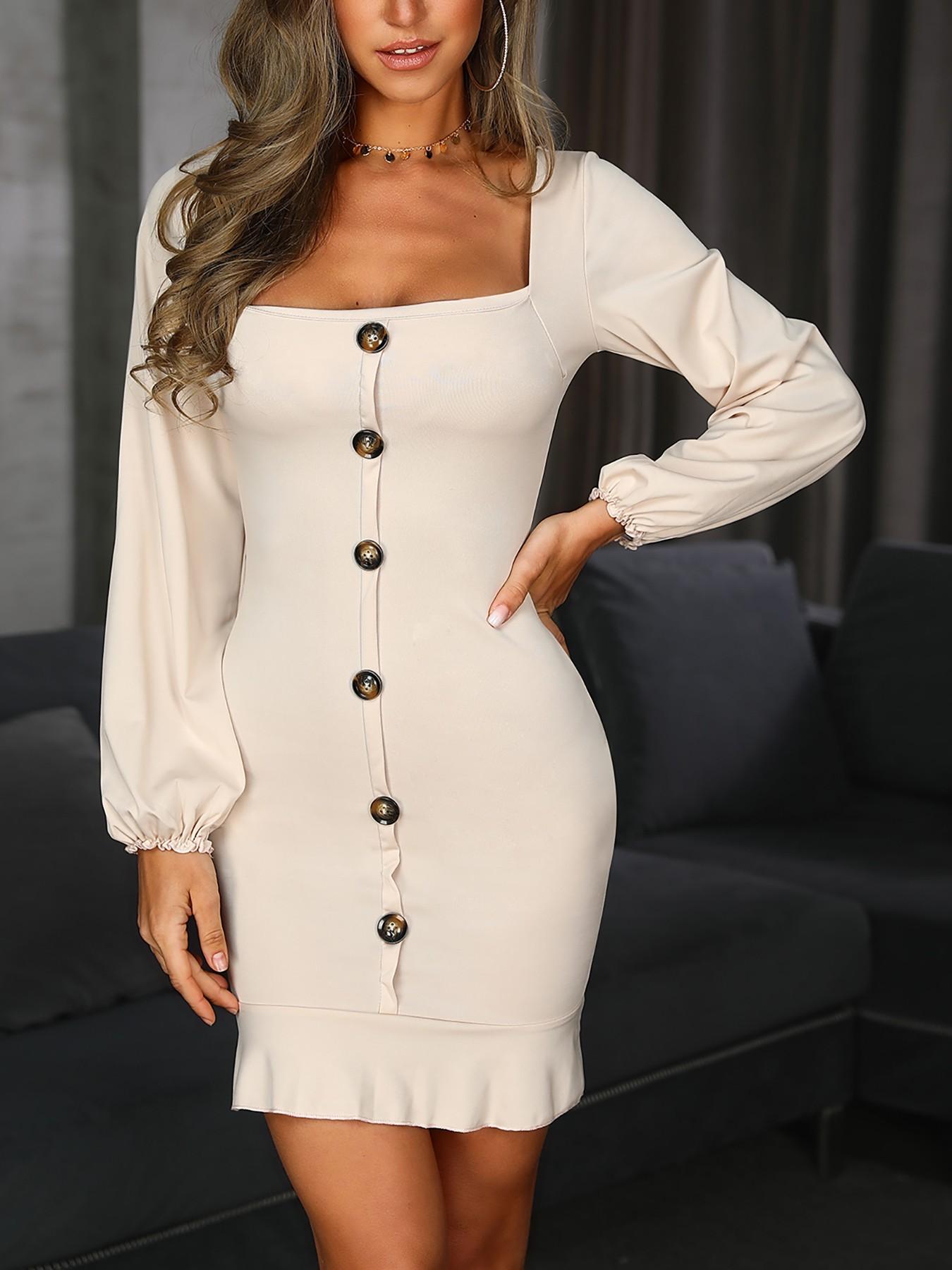 boutiquefeel / Single-Breasted Puff Sleeve Flutter Hem Dress