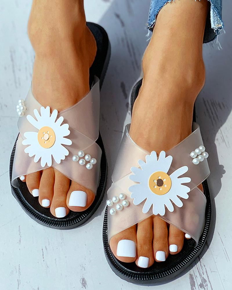Daisy Pattern Beaded Transparent Flat Sandals thumbnail