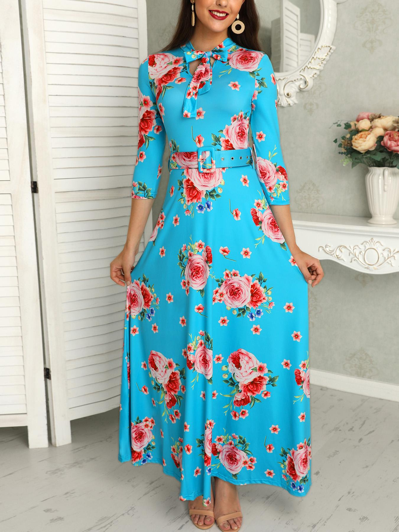 Floral Print Tied Neck Belted Maxi Dress Online. Discover hottest trend  fashion at chicme.com 481b241d7