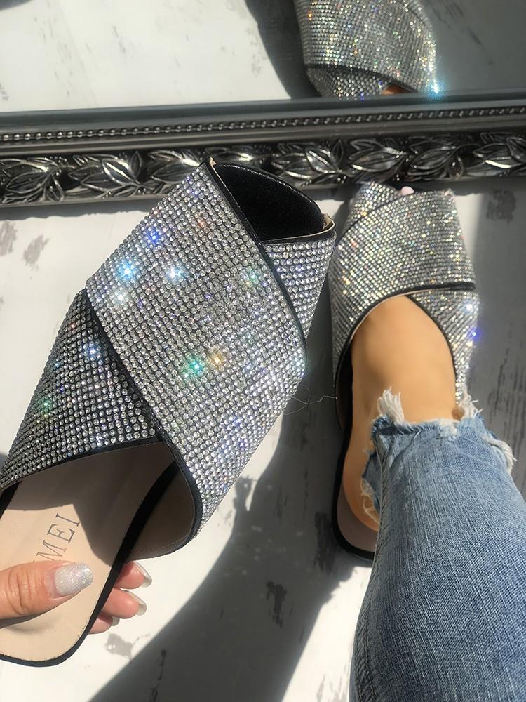boutiquefeel / Shiny Sequins Embellished Crisscross Sandals