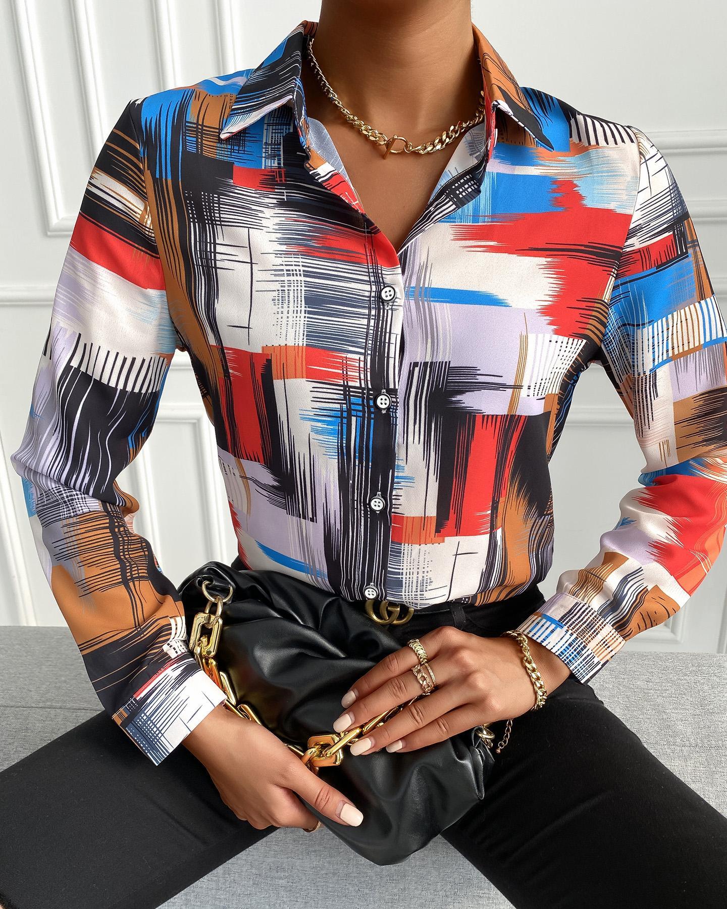 ivrose / Colorblock Long Sleeve Button Design Shirt