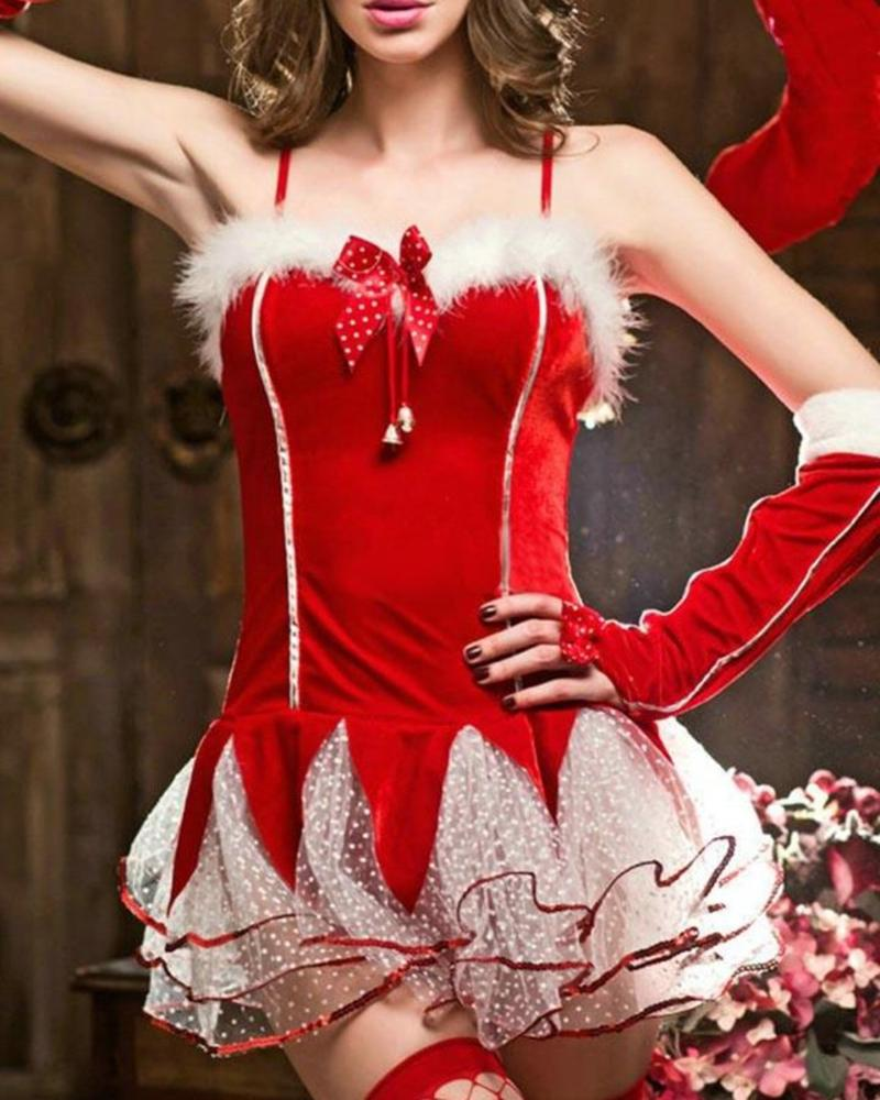 Christmas Dot Mesh Fluffy Party Dress