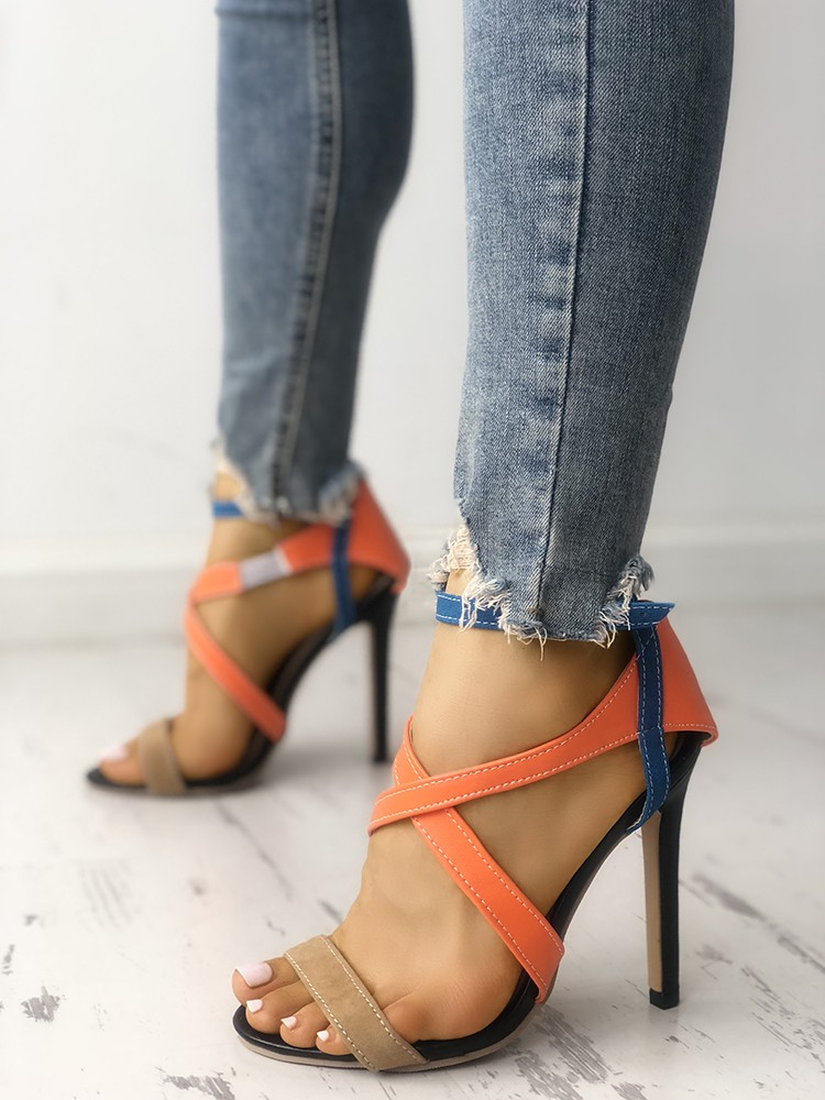 7d9e5746217 Multicolor Strappy Cut Out High-heel Sandals