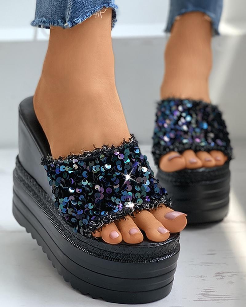 Peep Toe Sequins Fringe Hem Wedge Heeled Sandals thumbnail