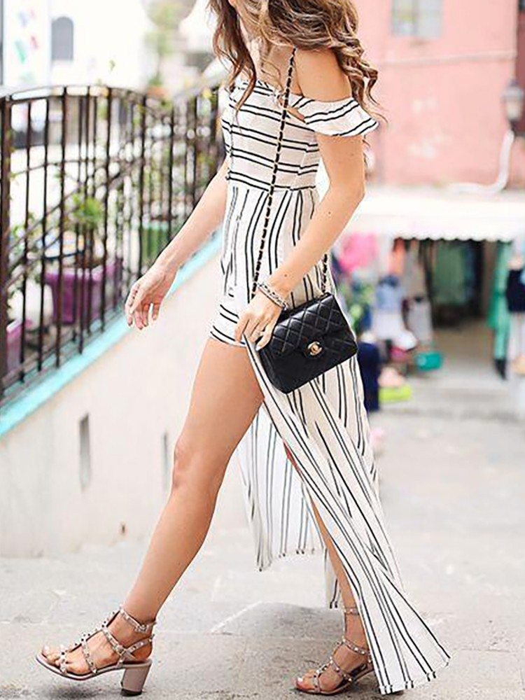 boutiquefeel / Stripes Off Shoulder Slit Maxi Dress