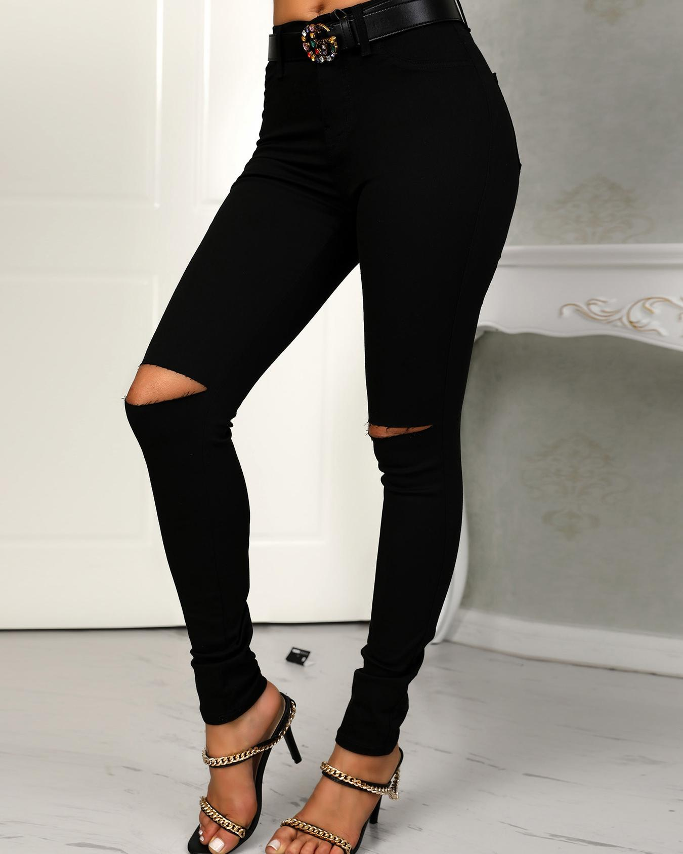fashion styles double coupon amazing price Black Cut Out Knee Pocket Jeans