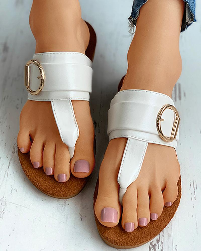 Toe Post Buckle Detail Flat Sandals