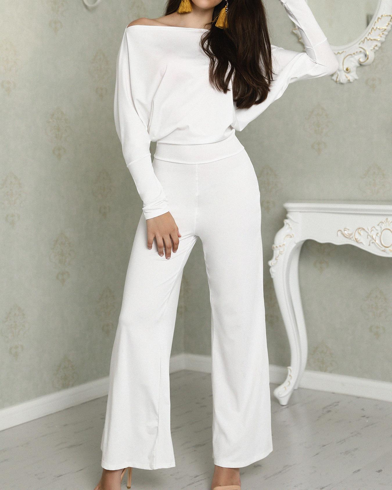 cf8bb91fdfd Oversized Solid Skew Neck Wide Leg Jumpsuit Online. Discover hottest trend  fashion at chicme.com