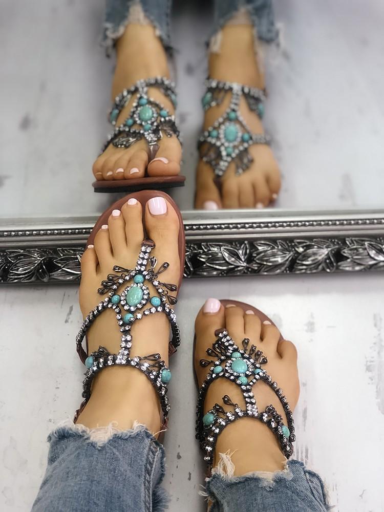 boutiquefeel / Boho Style Shiny Embellished Toe Post Flat Sandals