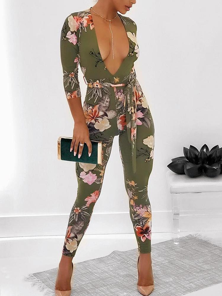 d9e05523aa0 Sexy Deep V Neck Tied Waist Floral Skinny Jumpsuit Online. Discover ...