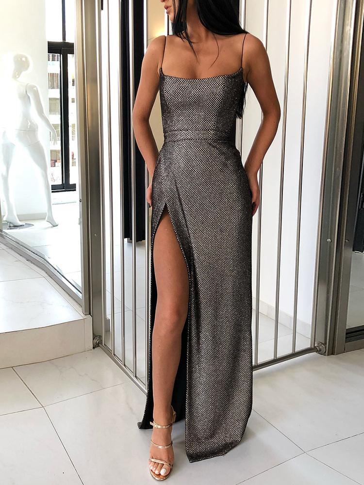 boutiquefeel / Shiny Spaghetti Strap High Slit Evening Dress