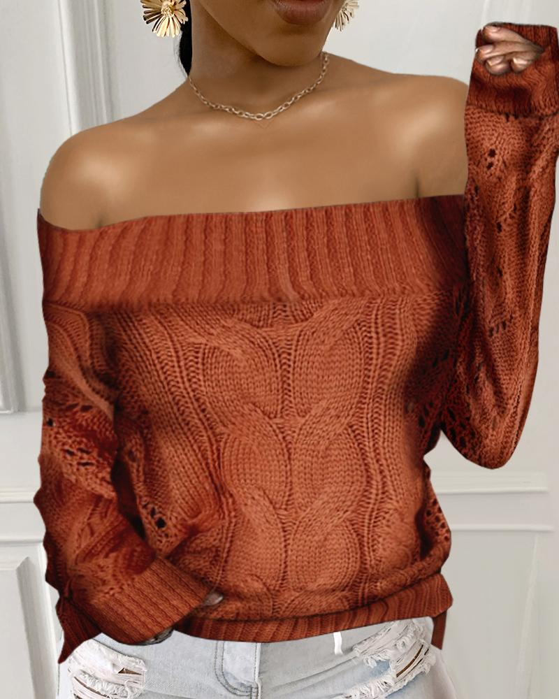 Off Shoulder Solid Cable-knit Long Sleeve Sweater thumbnail