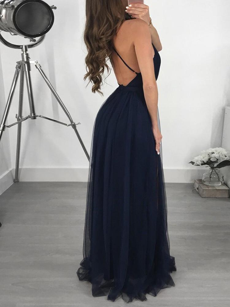 boutiquefeel / See Through Mesh Plunge Slip Maxi Dress