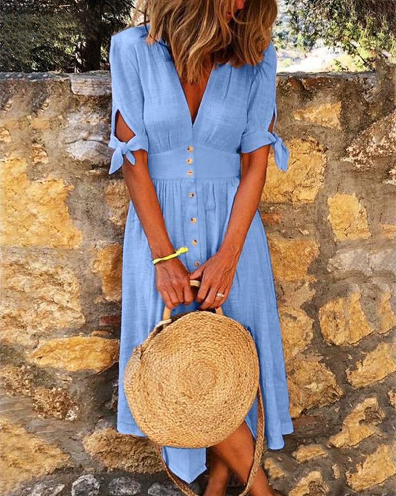 Solid V-neck Half Sleeve Casual Dress thumbnail