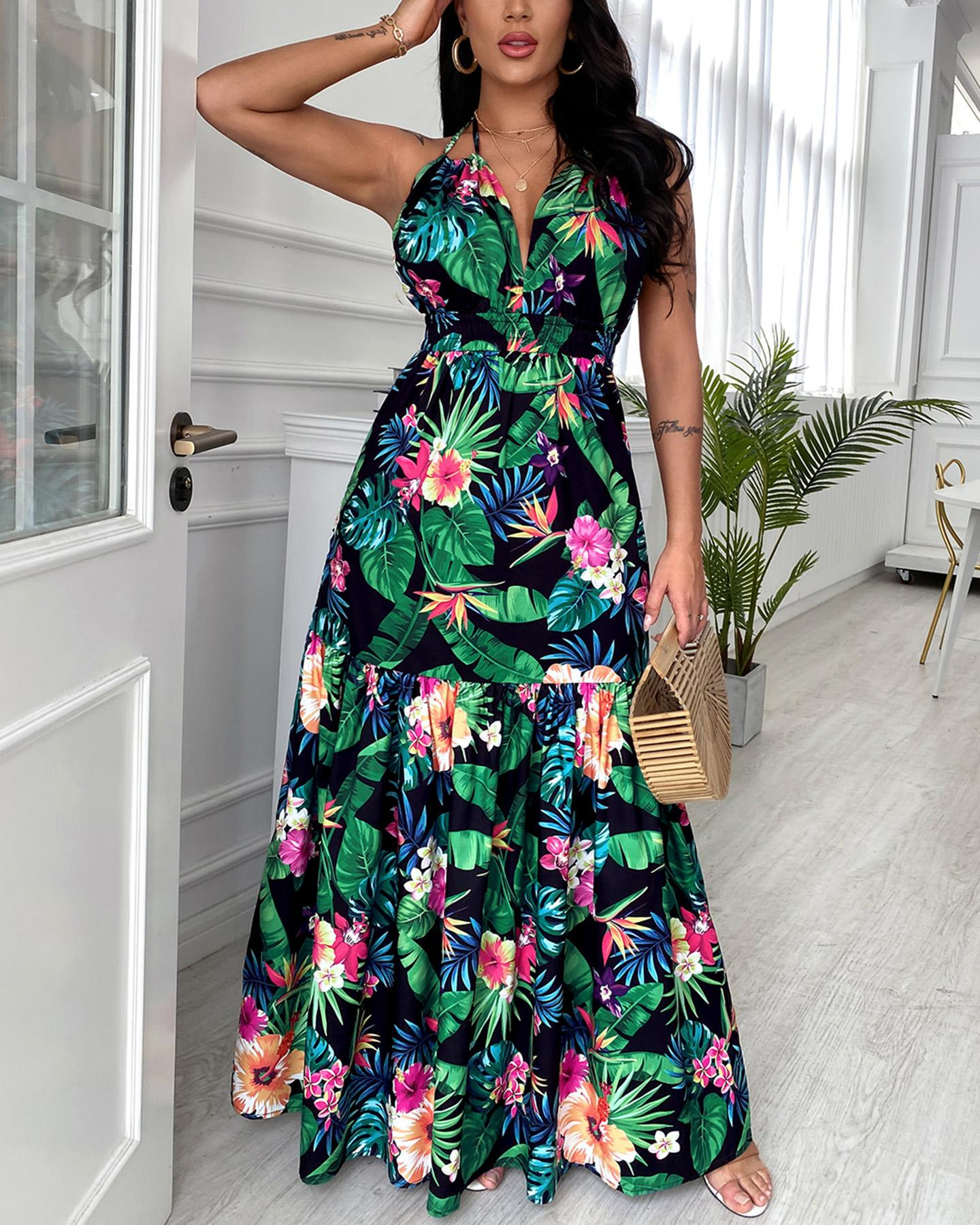 Tropical Print Halter Backless Maxi Dress, Multicolor