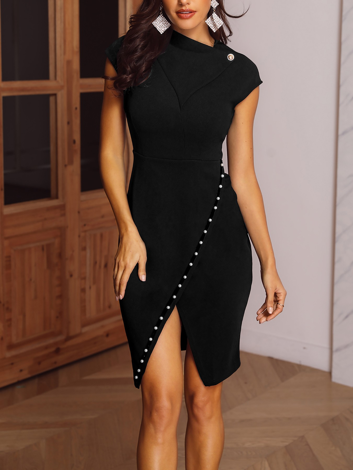 boutiquefeel / Beading Embellished Slit Irregular Midi Dress