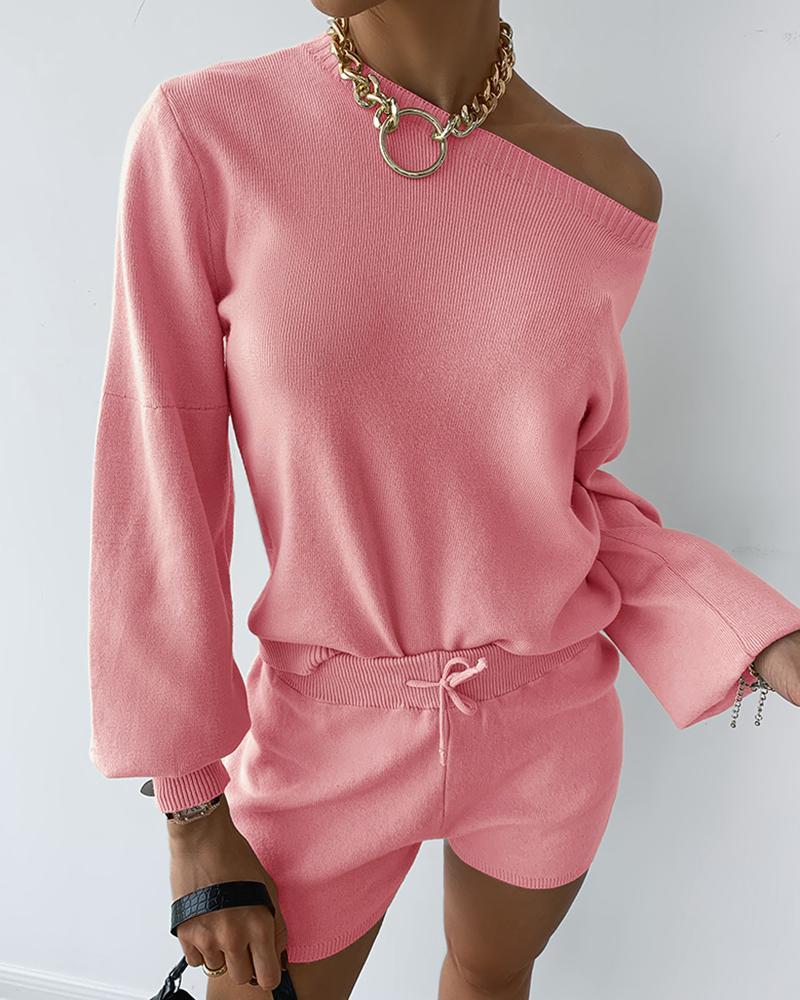 Solid Lantern Sleeve Knit Top & Shorts Sets thumbnail