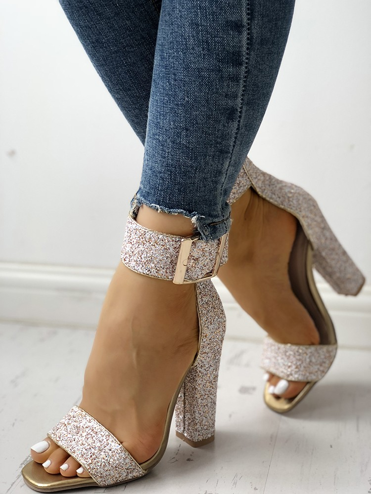 boutiquefeel / Stylish Sequin Open Toe Chunky Heeled Sandals