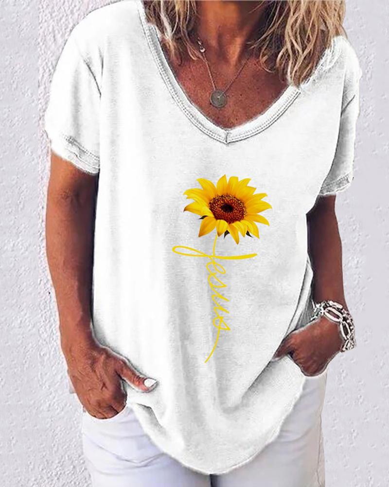 Sunflower Print Letter Pattern Casual T-shirt thumbnail