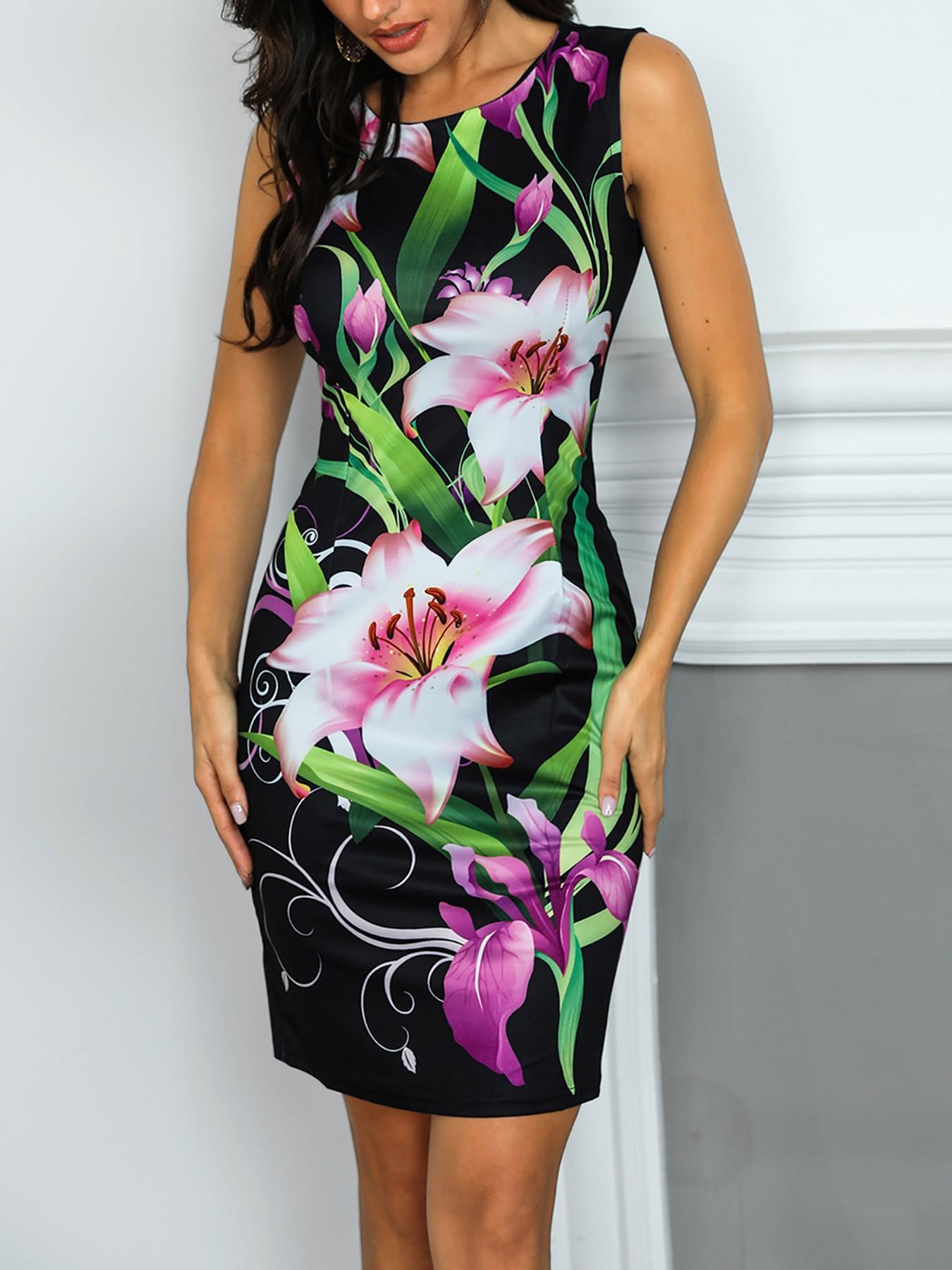 Floral Print Slit Back Bodycon Dress