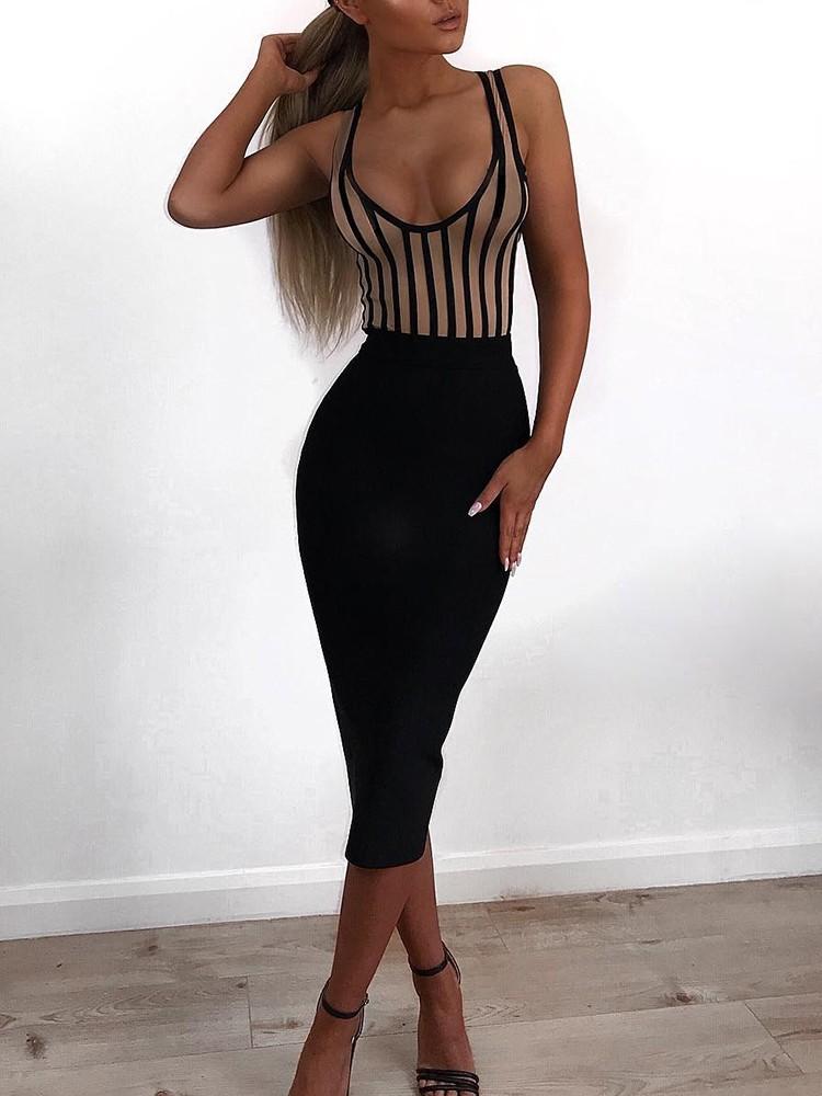 Sexy Striped Packwork Bodycon Midi Dress
