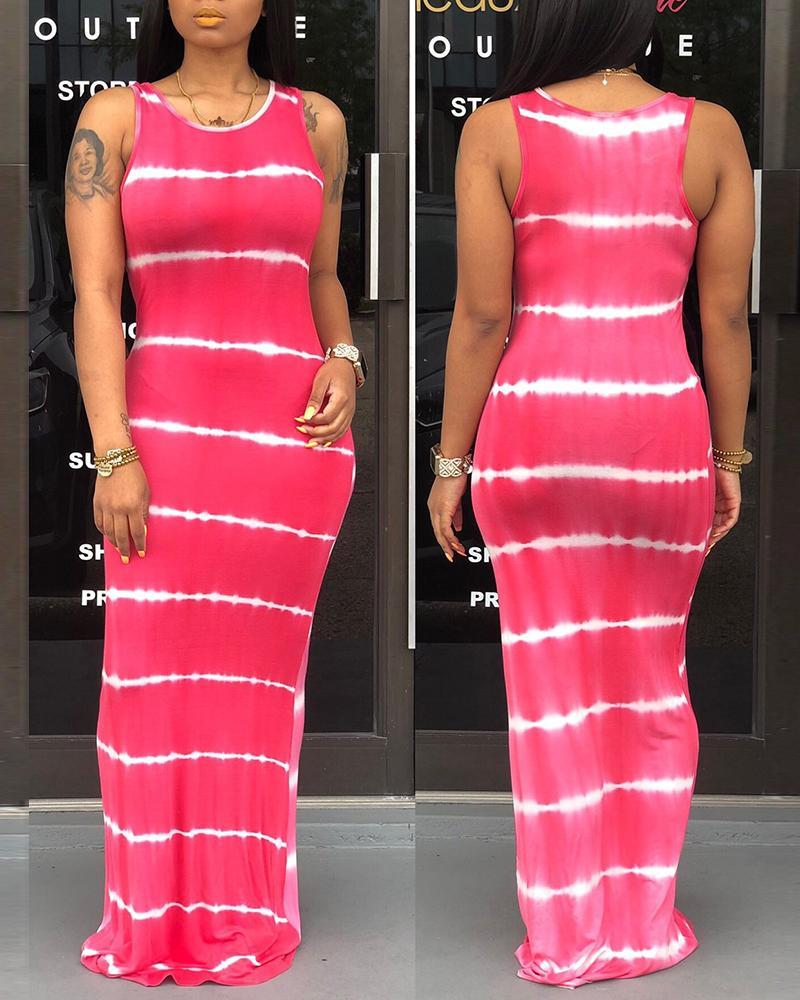 Tie Dye Print Thick Strap Casual Maxi Dress thumbnail