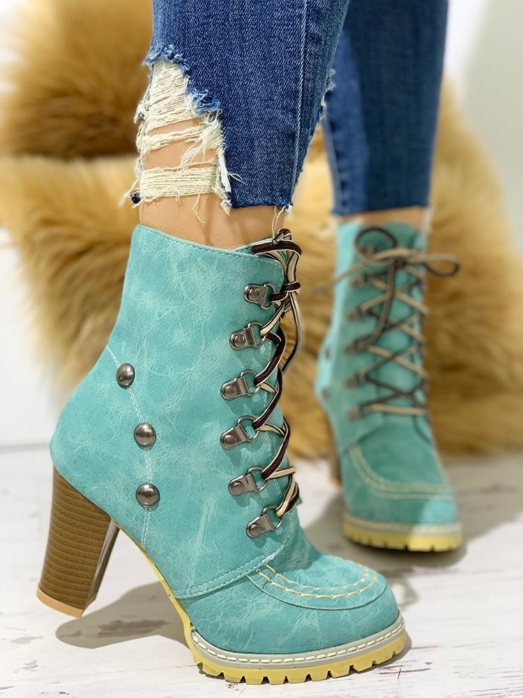 boutiquefeel / Rivet Lace-Up Eyelet Chunky Heeled Boots