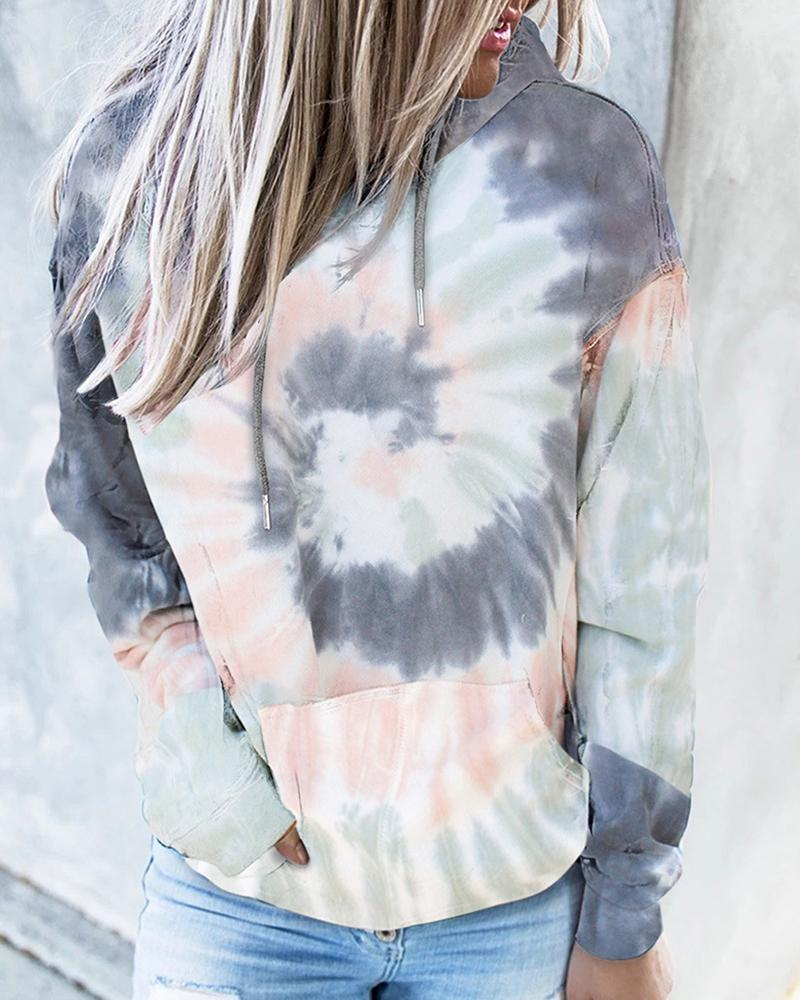 Tie Dye Print Pocket Design Hooded Top thumbnail