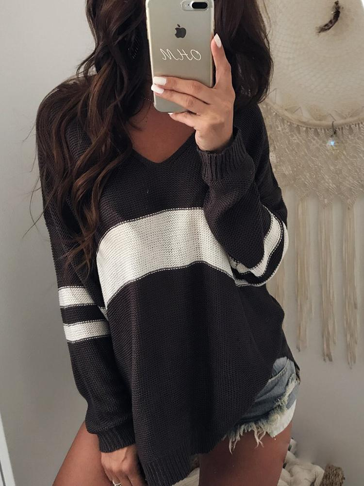 Joyshoetique coupon: Contrast Stripes V Neck Casual Sweater - Black&White