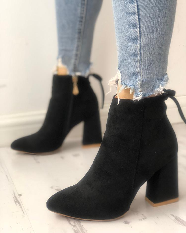 109f44563f5b Suede Point Toe Tie Back Ankle Boots Online. Discover hottest trend fashion  at chicme.com