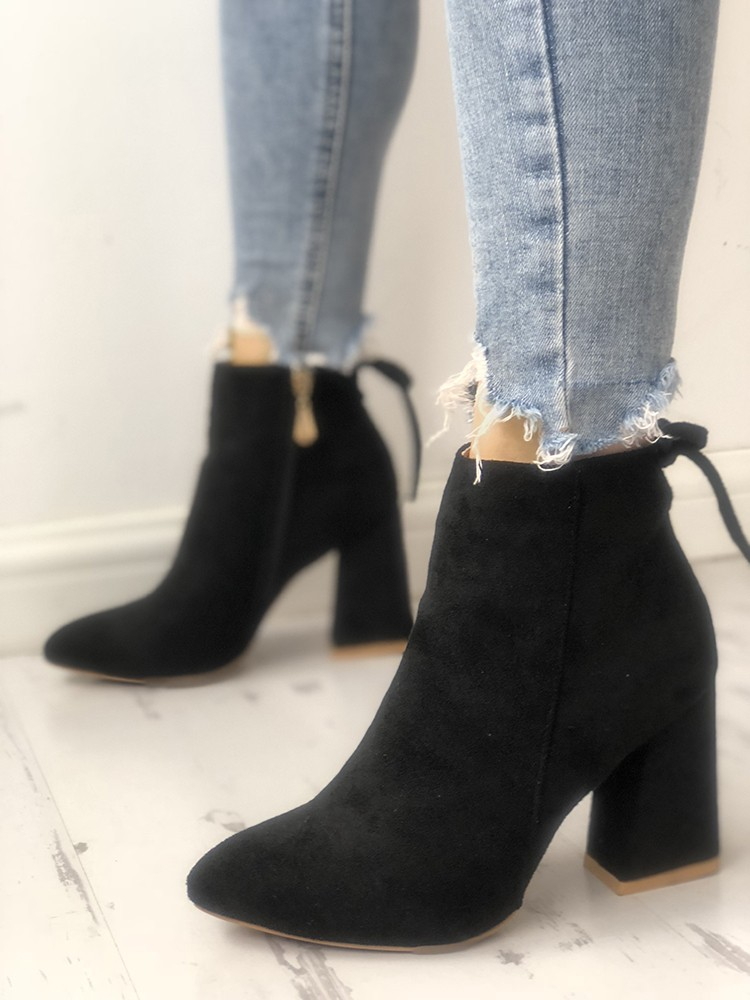 Suede Point Toe Tie Back Ankle Boots