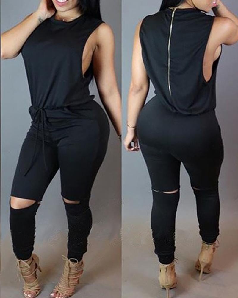 Sleeveless Solid Top & Drawstring Cut Out Pants Set thumbnail
