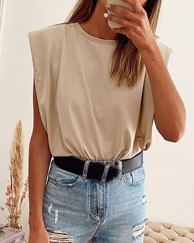 Sleeveless Round Neck Casual Top thumbnail