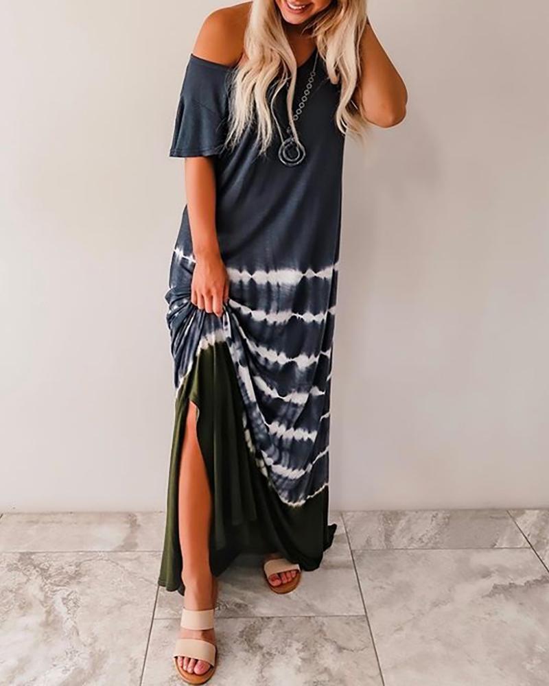 Tie Dye Print Short Sleeve Casual Dress thumbnail