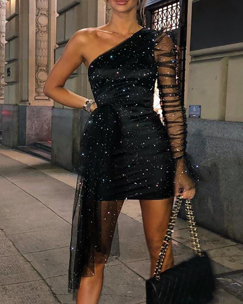 Glitter One Shoulder Sheer Mesh Ruched Party Dress thumbnail