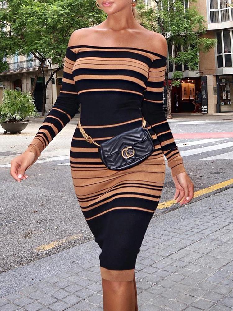 Contrast Stripes Off Shoulder Bodycon Dress