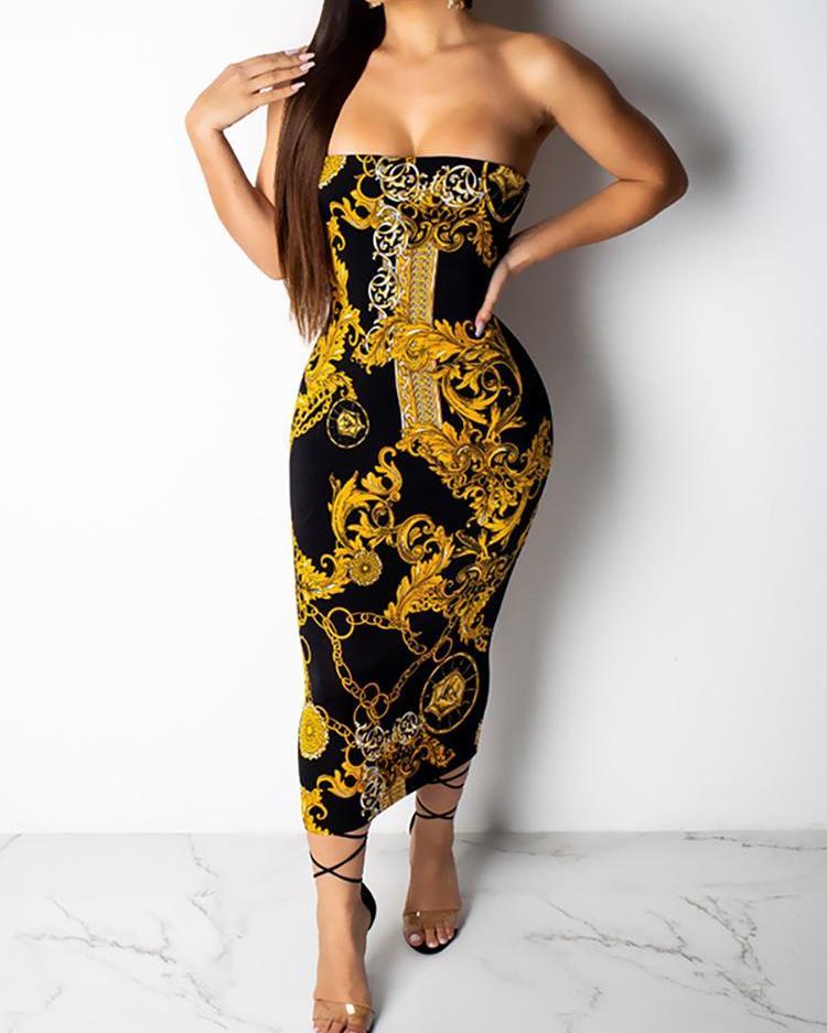 Retro Print Slinky Tube Dress